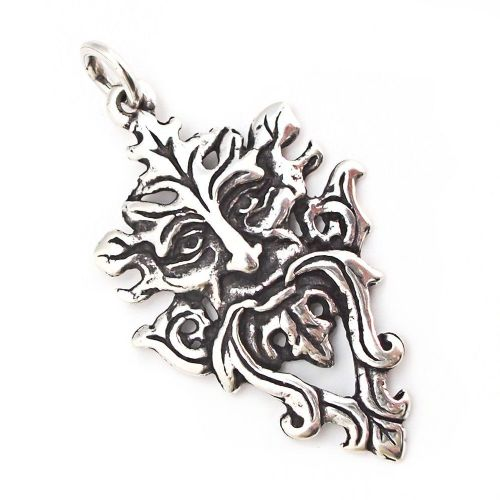Green Man Tree Spirit Silver Pendant (P003)